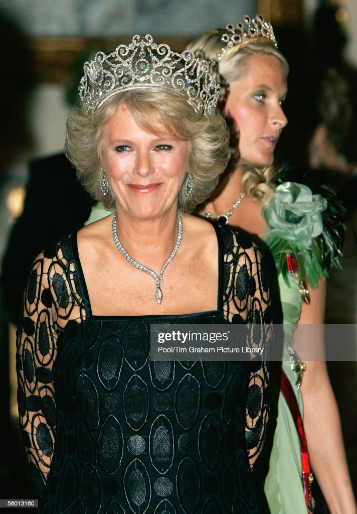 Camilla Duchess of Cornwall wears a Royal heirloom diamond tiara, necklace and earrings, at a banquet in Buckingham Palace on October 25, 2005 in London, England. This is the first time that Camilla has worn the royal tiara and only the third time the priceless jewelry has been worn in public.