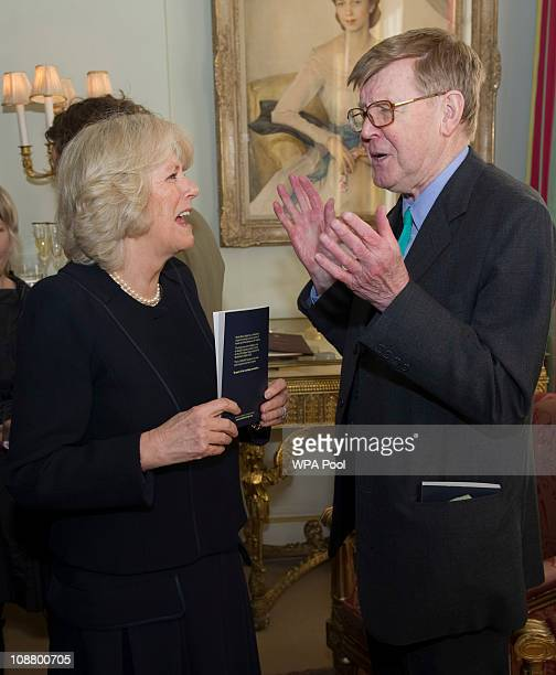 Camilla Duchess of Cornwall with Alan Bennett Camilla Duchess of Cornwall Patron National Literacy Trust hosted a reception for authors and...