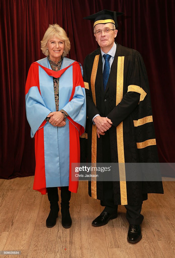<a gi-track='captionPersonalityLinkClicked' href=/galleries/search?phrase=Camilla+-+Duchess+of+Cornwall&family=editorial&specificpeople=158157 ng-click='$event.stopPropagation()'>Camilla</a>, Duchess Of Cornwall with Vice Chancellor Professor Sir Christopher Snowden at the University Of Southampton where she was awarded an Honourary Doctorate on February 11, 2016 in Southampton, England.