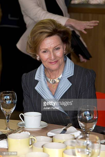 Camilla Duchess of Rothesay and Queen Sonja of Norway attend the official opening at Maggie's Cancer Caring Centre on September 23 2013 in Aberdeen...