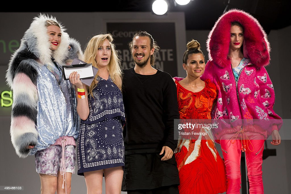 Camilla Grimes from Manchester School of Art wins the Creative Catwalk Award during day 4 of Graduate Fashion Week 2014 at The Old Truman Brewery on June 3, 2014 in London, England.