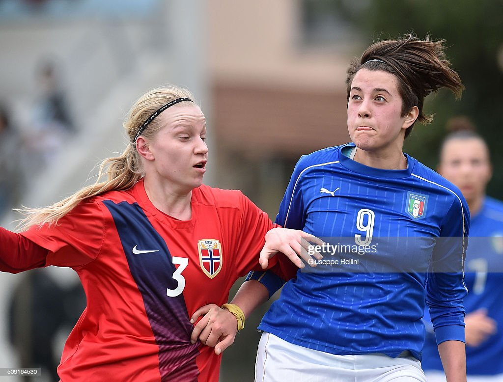 Camilla Huseby of Norway and Elisa Polli of Italy in action during the Women's U17 international friendly match between Italy and Norway on February 9, 2016 in Cervia, Italy.