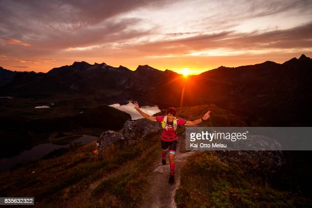 Camilla Johansson on the way up the last climb of The Arctic Triple // Lofoten Triathlon Extreme distance on August 19 2017 in Svolvar Norway Lofoten...