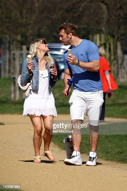 Camilla Kerslake and Chris Robshaw are Sighted in Richmond Park on March 28 2012 In London England