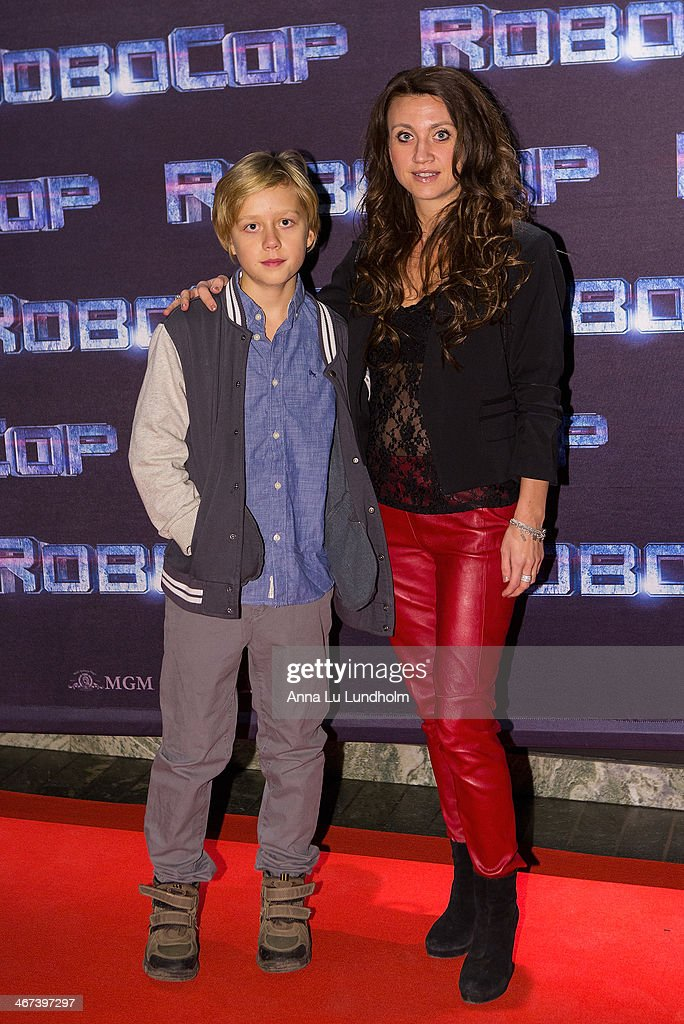 Camilla Lackberg with son attends the Stockholm premiere of 'Robocop' at Rigoletto on February 6, 2014 in Stockholm, Sweden.