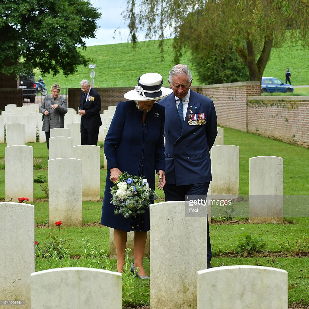 Camilla laid a wreath at the grave of her great uncle, Captain Harry Cubitt, who was killed on the Somme in September 1916 while serving with the Coldstream Guards. He was the eldest, and the first, to die of three brothers killed serving on the Western Front. Picture Arthur Edwards