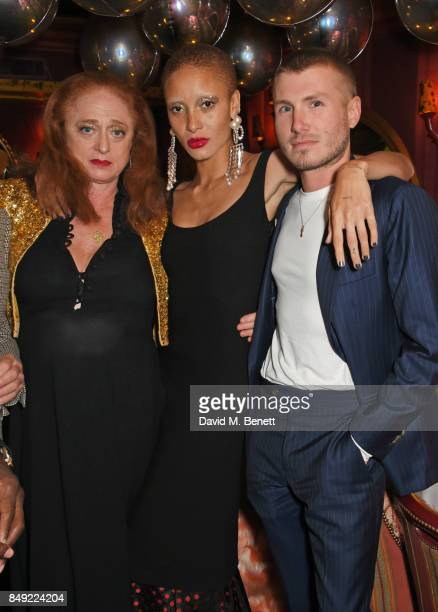 Camilla Lowther Adwoa Aboah and Felix Cooper attend the LOVE magazine x Miu Miu party held during London Fashion Week in association with Absolut...