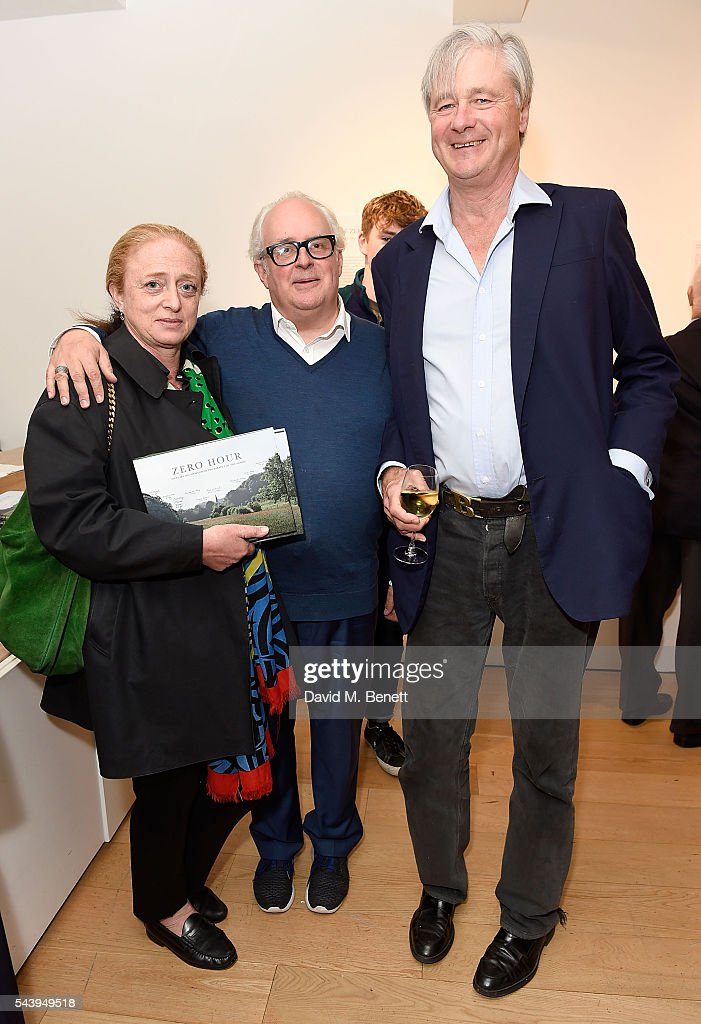 Camilla Lowther, Gerry Farrell and the Marquess of Worcester attend the exhibition launch party of 'The Zero Hour Panoramas' by Jolyon Fenwick. The exhibition consists of 14 photographic panoramas showcasing, '100 Years on: Views From The Parapet of the Somme', at Sladmore Contemporary on June 30, 2016 in London, England.