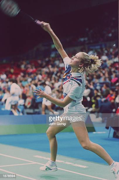 Camilla Martin of Denmark in action during the Ladies singles competition at the 1994 Yonex All England Open Badminton Championships Mandatory Credit...
