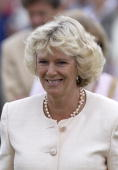 Camilla Parkerbowles Smiling At The Sandringham Flower Show She Is Wearing A Pearl Necklace