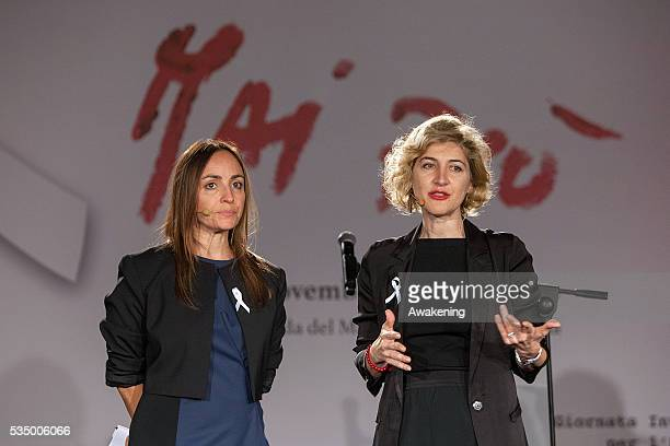 Camilla Raznovich and Catia Tomassetti the acea's president attend the show 'MaiPiù' organised by ACEA ahead of the International Day against...