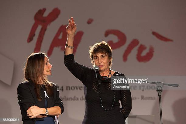 Camilla Raznovich and Serena Dandini attend the show 'MaiPiù' organised by ACEA ahead of the International Day against Violence on Women