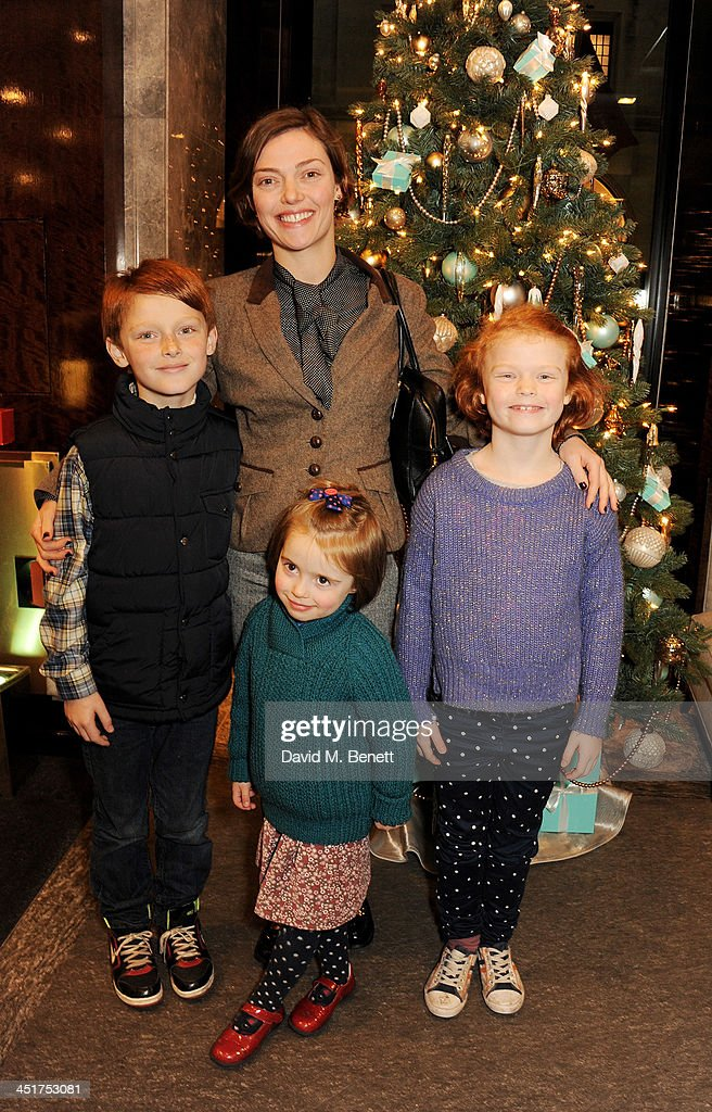 Camilla Rutherford (C) and children Hector, Maud and Nancy attend as Joely Richardson officially opens the Tiffany & Co. Christmas Shop on Bond Street, London on November 24, 2013 in London, England.