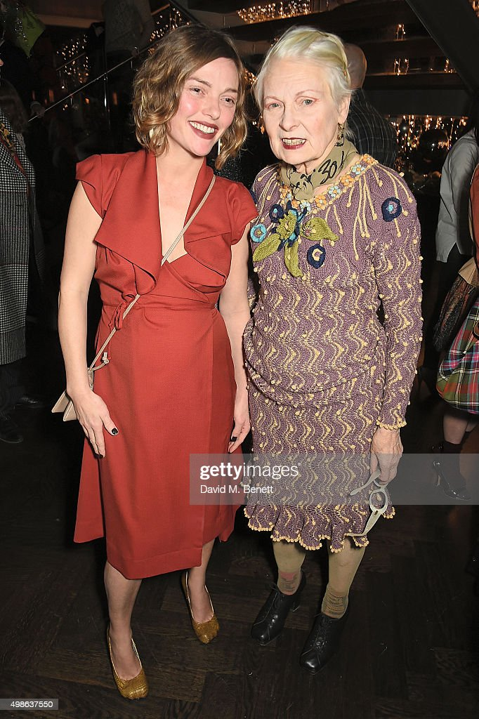 Camilla Rutherford and Vivienne Westwood attend Vivienne Westwood Christmas tree unveiling at aqua shard on November 24 2015 in London England