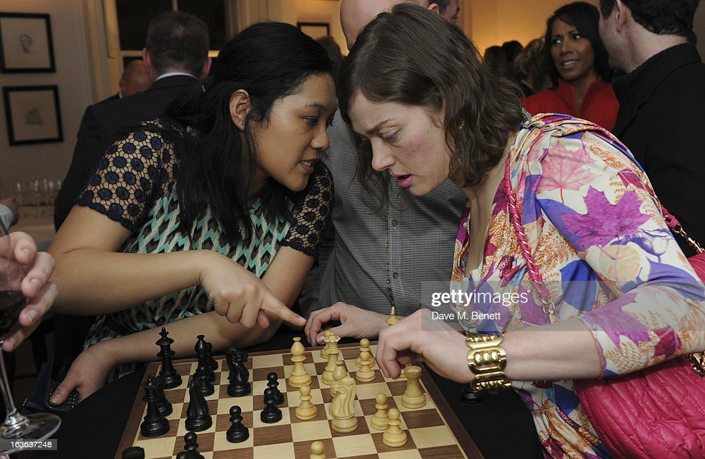 Camilla Rutherford (R) attends the launch of the 'Urban Chess' Funding Initiative from East Village at Mortons on March 13, 2013 in London England.