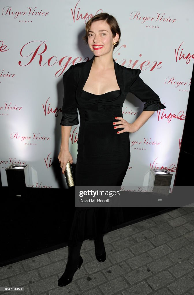 <a gi-track='captionPersonalityLinkClicked' href=/galleries/search?phrase=Camilla+Rutherford&family=editorial&specificpeople=212747 ng-click='$event.stopPropagation()'>Camilla Rutherford</a> attends the Roger Vivier Virgule London launch party hosted by Atlanta de Cadenet, Ines de la Fressange and Bruno Frisoni, Creative Director of Roger Vivier, at Le Baron on October 15, 2013 in London, England.