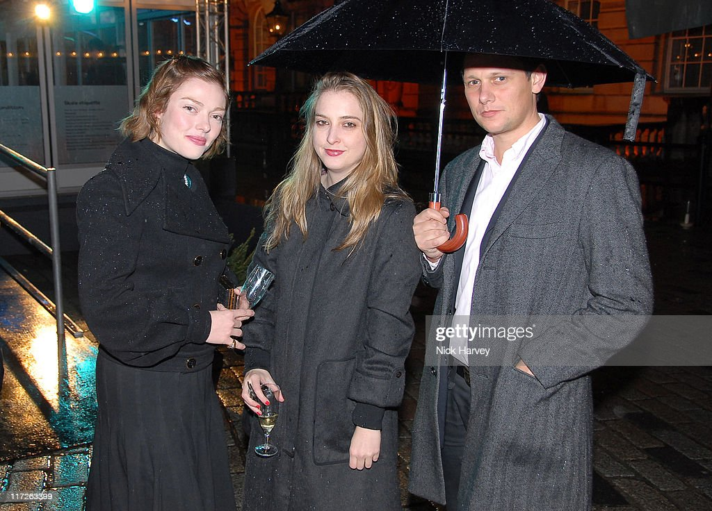 Camilla Rutherford Daisy de Villeneuve and guest attend the Tiffany tree lighting by Thandie Newton at Somerset House November 20 2007 in London...