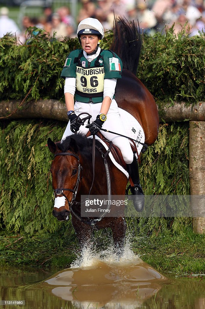 Camilla Speirs of Ireland riding Portersize Just A Jiff as they compete in the cross country stage during day three of the Badminton Horse Trials on April 24, 2011 in Badminton, Gloucestershire.