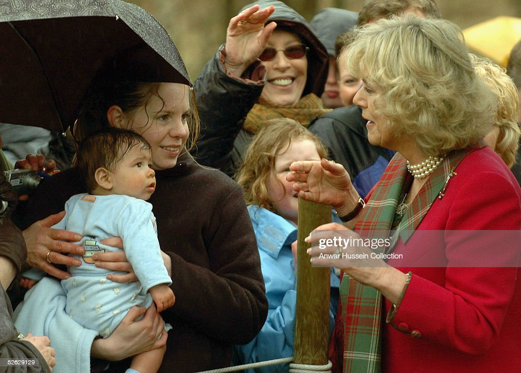 Camilla, the Duchess of Cornwall, in her role as the Duchess of Rothesay, takes time out from her honeymoon at Birkhall on the Queen's Aberdeenshire estate, to undertake her first joint official engagement with husband Prince Charles, the Prince of Wles, opening Monaltrie Park children's playground in Ballater near Balmoral on April 14, 2005 in Aberdeenshire, Scotland.