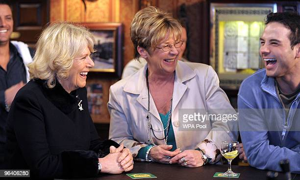 Camilla The Duchess of Cornwall meets actors Anne Kirkbride who plays the role of Deirdre Barlow and Ryan Thomas who plays the role of Jason Grimshaw...