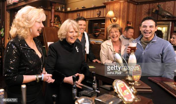 Camilla The Duchess of Cornwall meets actors Beverly Callard who plays landlady Liz McDonald Anne Kirkbride who plays the role of Deirdre Barlow and...
