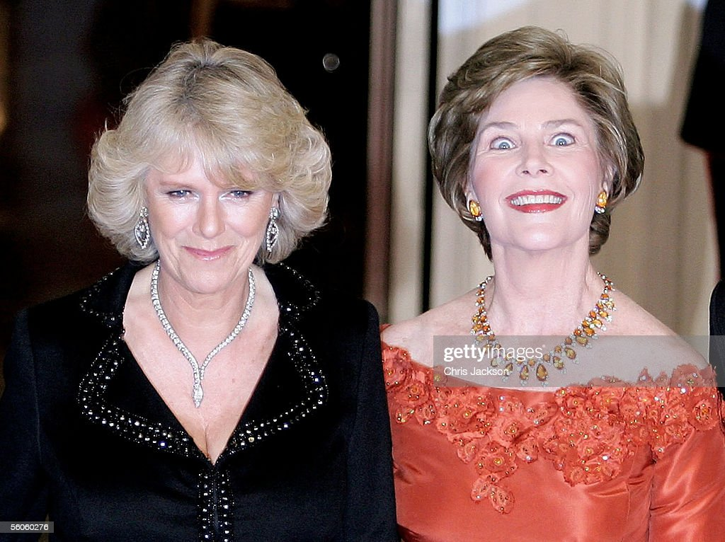 Camilla, the Duchess of Cornwall of the United Kingdom and Laura Bush arrive at the White House for a dinner on the second day of a week-long visit by Camilla and her husband Prince Charles November 2, 2005 in Washington, DC.