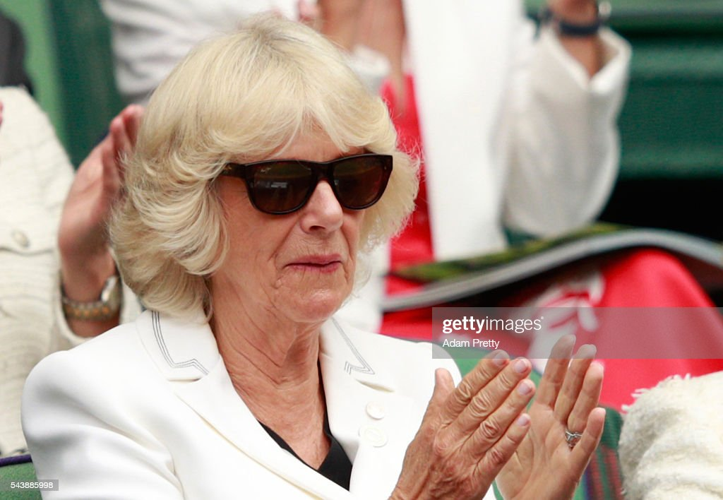 <a gi-track='captionPersonalityLinkClicked' href=/galleries/search?phrase=Camilla+-+Duchess+of+Cornwall&family=editorial&specificpeople=158157 ng-click='$event.stopPropagation()'>Camilla</a>, the Duchess of Cornwall watches on from the stands in centre court on day four of the Wimbledon Lawn Tennis Championships at the All England Lawn Tennis and Croquet Club on June 30, 2016 in London, England.