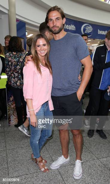 Camilla Thurlow and Jamie Jewitt from Love Island arrive at Stanstead airport on July 25 2017 in London England