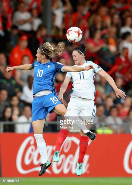 Camille Abily of France and Jade Moore of England battle to win a header during the UEFA Women's Euro 2017 Quarter Final match between France and...
