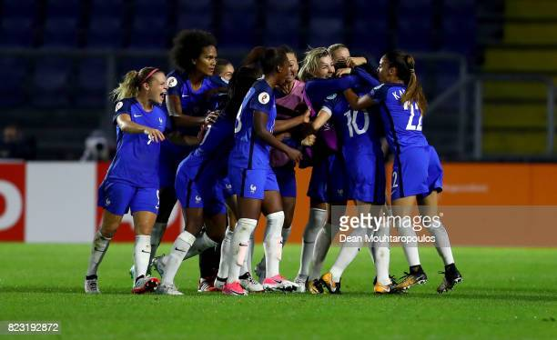 Camille Abily of France celebrate with her team mates after she scores the equalizing goal during the Group C match between Switzerland and France...