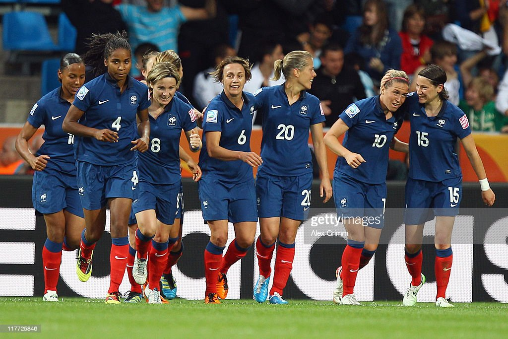 Camille Abily (2R) of France celebrates her team's third goal with team mates during the FIFA Women's World Cup 2011 Group A match between Canada and France at the Fifa Womens World Cup Stadium on June 30, 2011 in Bochum, Germany.