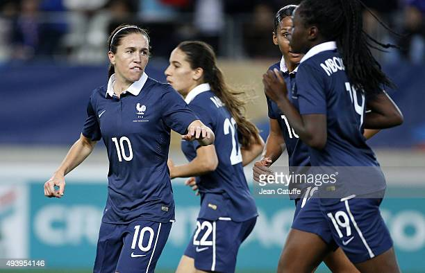 Camille Abily of France celebrates scoring the first goal of France during the women's international friendly match between France and The...