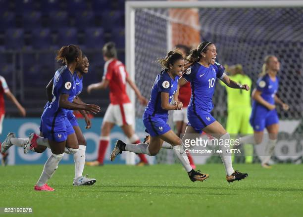 Camille Abily of France celebrates scoring their first goal during the UEFA Women's Euro 2017 Group C match between Switzerland and France at Rat...
