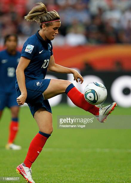 Camille Abily of France controls the ball during the FIFA Women's World Cup 2011 Quarter Final match between England and France at the FIFA Women's...