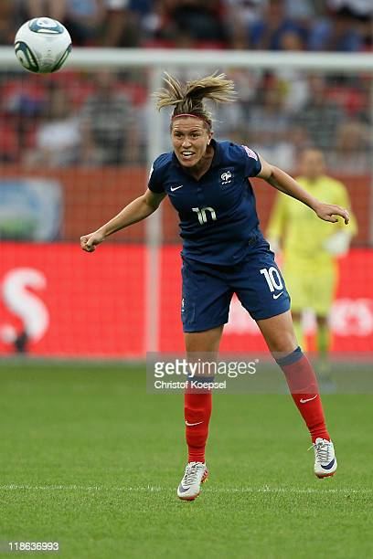 Camille Abily of France does a header during the FIFA Women's World Cup 2011 Quarter Final match between England and France at the FIFA Women's World...