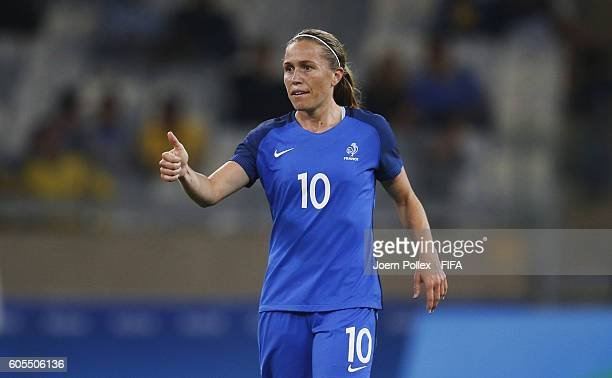 Camille Abily of France gestures during Women's Group G match between France and Colombia on Day 2 of the Rio2016 Olympic Games at Mineirao Stadium...