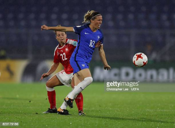 Camille Abily of France gets away from Vanessa Bernauer of Switzerland during the UEFA Women's Euro 2017 Group C match between Switzerland and France...