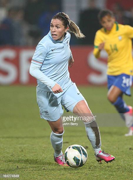 Camille Abily of France in action during the women international friendly match between France and Brazil at the Robert Diochon stadium on March 9...