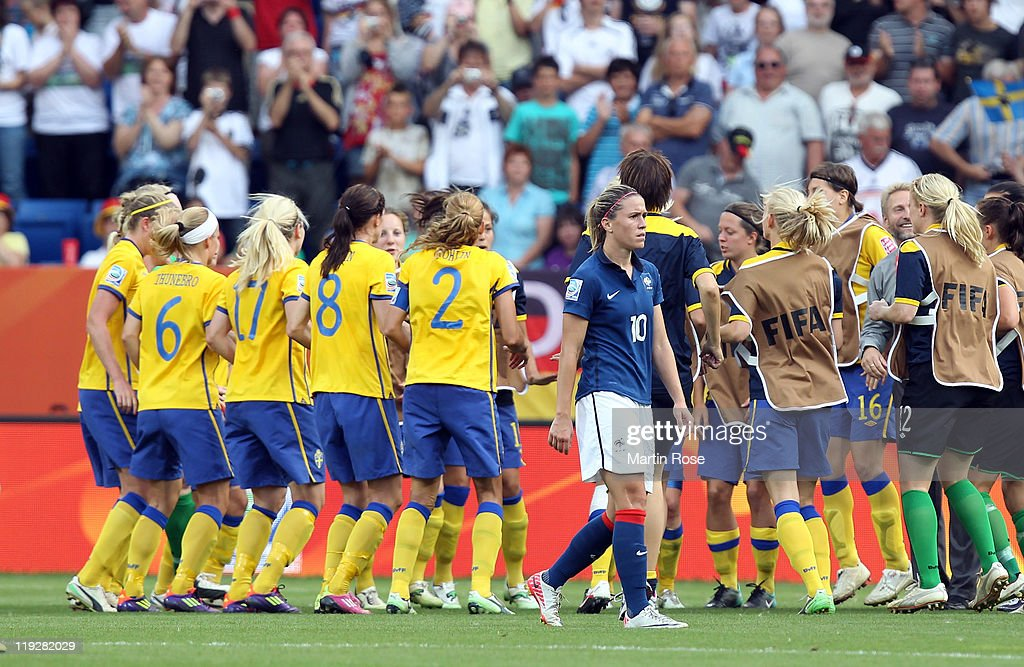 Camille Abily of France looks dejected after the FIFA Women's World Cup 2011 3rd place playoff match between Sweden and France at Rhein-Neckar Arena on July 16, 2011 in Sinsheim, Germany.