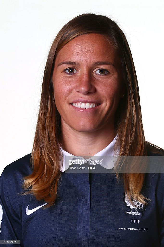 <a gi-track='captionPersonalityLinkClicked' href=/galleries/search?phrase=Camille+Abily&family=editorial&specificpeople=2151492 ng-click='$event.stopPropagation()'>Camille Abily</a> of France poses during a FIFA Women's World Cup portrait session on June 6, 2015 in Moncton, Canada.