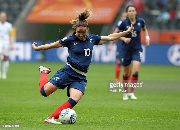 Camille Abily of France runs with the ball during the FIFA Women's World Cup 2011 Semi Final match between France and USA at BorussiaPark on July 13...