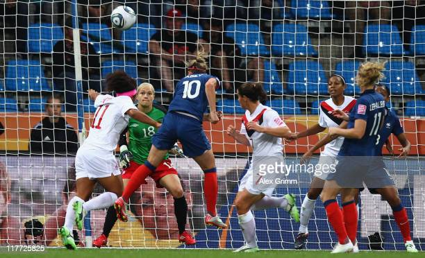 Camille Abily of France scores her team's third goal during the FIFA Women's World Cup 2011 Group A match between Canada and France at the Fifa...