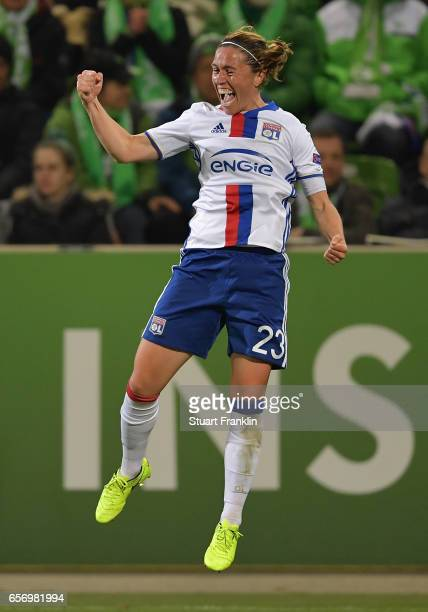 Camille Abily of Lyon celebrates scoring her goal during the UEFA Women's Champions League Quater Final first leg match between VfL Wolfsburg and...