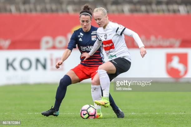 Camille Abily of Olympique and Paulina Dudek of Medyk during the UEFA Women's Champions League match between KKPK Medyk Konin and Olympique Lyon on...