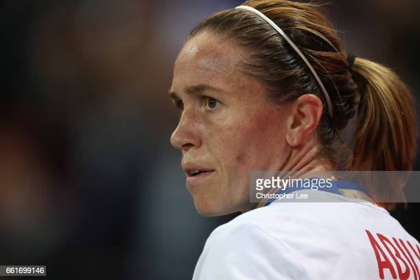 Camille Abily of Olympique Lyon in action during the Women's Champions League match between Lyon and Wolfsburg at Stade de Lyon on March 29 2017 in...