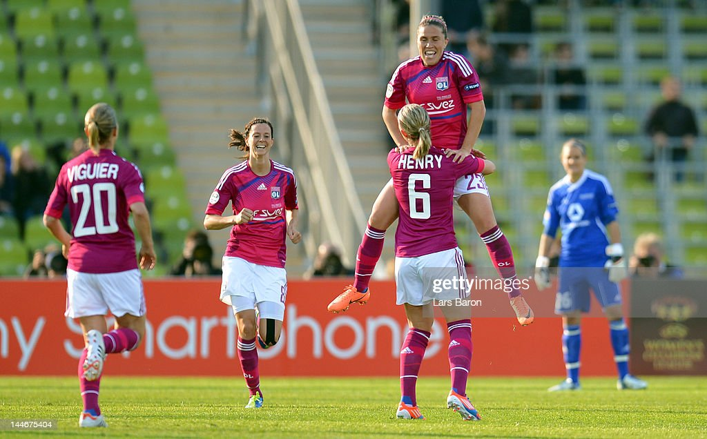 <a gi-track='captionPersonalityLinkClicked' href=/galleries/search?phrase=Camille+Abily&family=editorial&specificpeople=2151492 ng-click='$event.stopPropagation()'>Camille Abily</a> of Olympique Lyonnais celebrates after scoring his teams second goal during the UEFA Women's Champions League Final between Olympique Lyonnais and 1. FFC Frankfurt at Olympiastadion on May 17, 2012 in Munich, Germany.