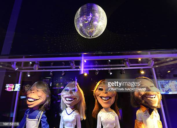 Camille BASWOHLERT This picture taken on May 6 2013 in Stockholm shows puppets featuring ABBA members at world's first permanent ABBA museum on the...