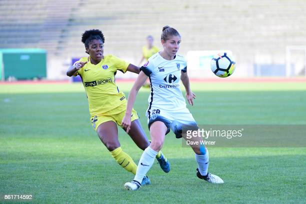 Camille Catala of Paris FC and Ashley Lawrence of PSG during the women's Division 1 match between Paris FC and Paris Saint Germain on October 15 2017...