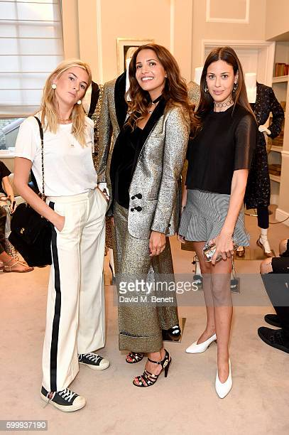 Camille Charriere Racil Chalhoub and Anissa Kermiche attend a cocktail reception hosted by RACIL and MATCHESFASHIONCOM to celebrate the launch of...