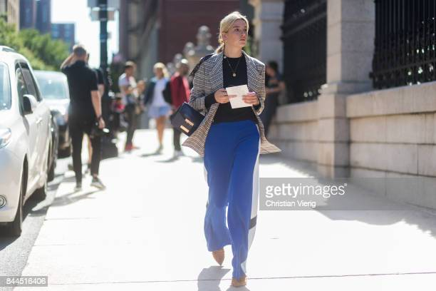 Camille Charriere seen in the streets of Manhattan outside Tory Burch during New York Fashion Week on September 8 2017 in New York City